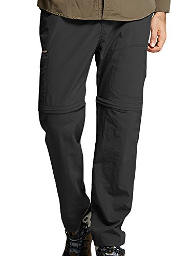 Womens Outdoor Quick Dry Convertible Lightweight Hiking Fishing Zip Off Cargo Pant #2088F,Black,US S(29-30)