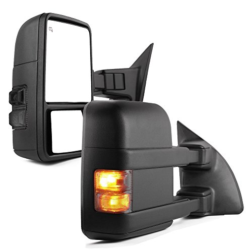 YITAMOTOR Towing Mirrors for 99-07 Ford F250/F350/F450/F550 Super Duty, 01-05 Excursion Pair Set Extendable Smoke Power Heated with LED Signal Light Side Mirrors by YITAMOTOR
