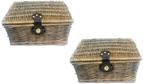 topfurnishing Strong Willow Wicker Picnic Gift Storage Xmas Empty Hamper Basket Handle Choclate,Set of 2 - Small