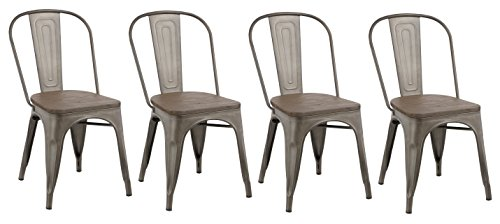 BTEXPERT 5031mcc-4 Industrial Kitchen wood top Classic Trattoria Chair Stackable Distressed Metal Chic Bistro Cafe Side Set of 4, 18 inch (Antique Dining Chairs)