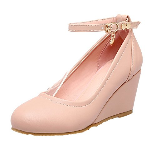 AmoonyFashion Womens Solid Kitten-Heels Buckle PU Round-Toe Pumps-Shoes Pink