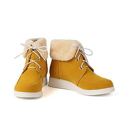 AllhqFashion Mujeres Puntera Redonda Caña Baja Mini Tacón Sólido Botas Amarillo