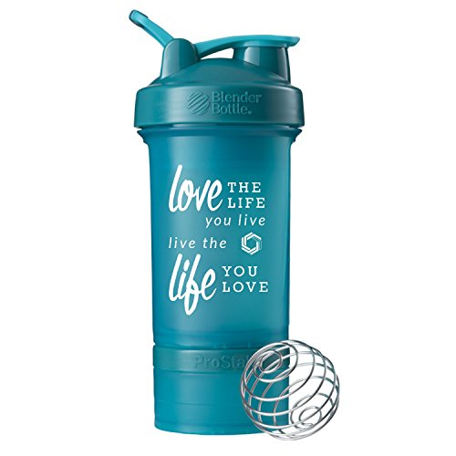 GOMOYO Love Life on BlenderBottle Brand ProStak Shaker Cup, 22-oz. Protein Shaker Bottle with BlenderBall Whisk and 2 Twist n' Lock Attachable containers (Teal)