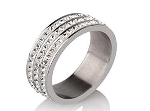 Stainless Steel Rings for Women & Men Two Rows of Square White Stones Fashion Ring (9) ()