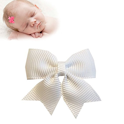TruStay Clip - Butterfly baby hair bows - Best No Slip Barrette for Fine Hair (B5-White)