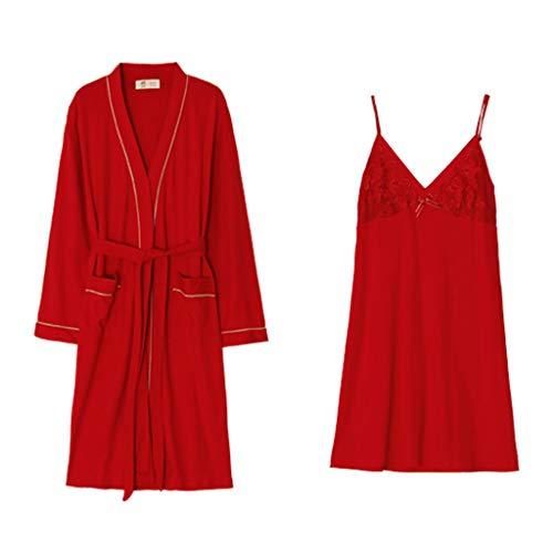 Primavera Dos Piezas Mujeres De Encaje L Pijamas Red Larga color Honda Rojo Size Otoño Red Algodón Las Camisón Bata Conjunto Sexy Manga Y AZ44nEa