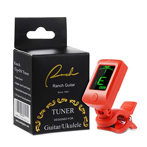 Ranch Clip-On Tuner Specialized for Ukulele and Guitar Beginner - Red