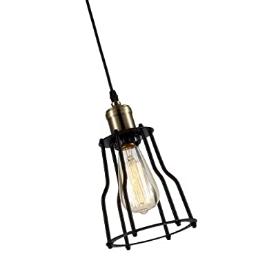Ohr Lighting® Edison Wire Cage Ceiling Pendant Light Fixture BULB INCLUDED, Matte Black/Antique Brass (ED263P)