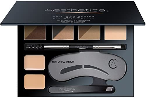 Aesthetica Brow Contour Kit  16Piece Eyebrow Makeup Palette  6 Brow Powders 5 Brow Stencils