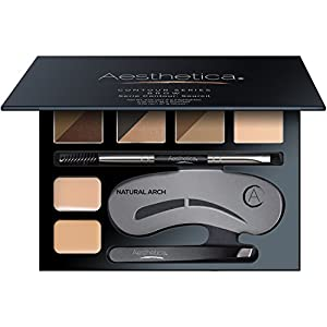 Aesthetica Brow Contour Kit – 16-Piece Eyebrow Makeup Palette – 6 Eyebrow Powders, 5 Eyebrow Stencils, Spoolie/Brush Duo…