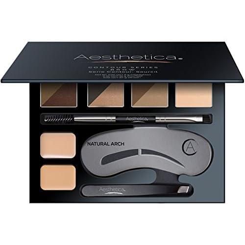 New Aesthetica Brow Contour Kit - 16-Piece Eyebrow Makeup Palette - 6 Brow Powders, 5 Brow Stencils, Spoolie/Brush Duo, Tweezers, Brow Wax, Highlighter, Concealer & Instructions for sale
