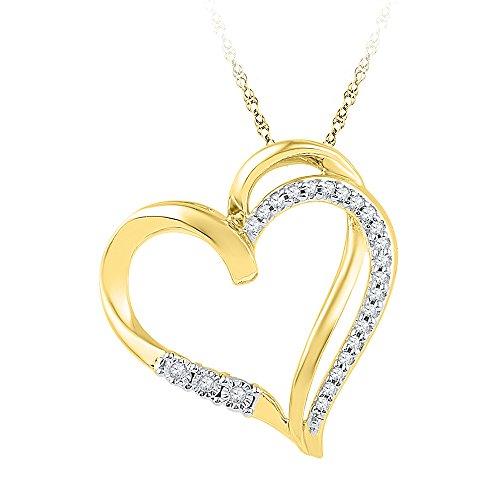 10kt Yellow Gold Womens Round Diamond Open-center Heart Love Pendant 1/10 Cttw