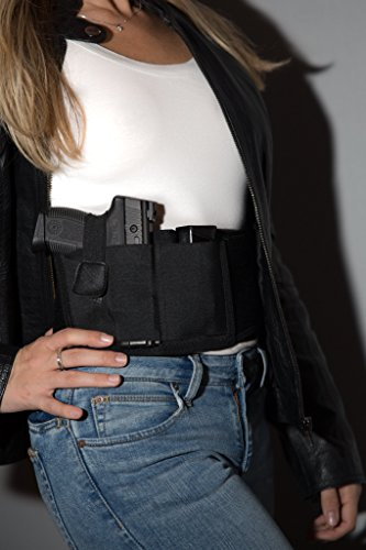 Concealed Carry Holster Fanny Pack by Gabico | Safe Belly Band for Glock Gun Concealment|Inside/Outside Waistband Wrap Belt for Men and Women|Ultimate Comfort for Running|Fits 4 Size Pistols|Black (Gun Running)