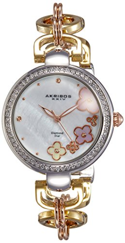 Akribos XXIV Women's AK874TRI Round White Mother of Pearl Dial Three Hand Quartz Strap Watch (White Polished Dial)