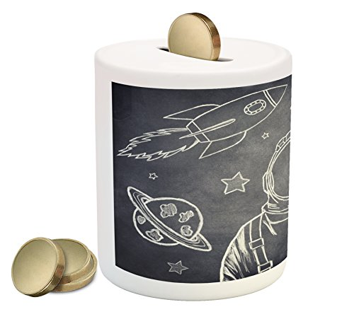 White Cadet Cadet Drop (Modern Coin Box by Lunarable, Space Backdrop with Planets and Sketchy Astronaut Figure Asteroid Galaxy Image, Printed Ceramic Coin Bank Money Box for Cash Saving, Cadet Blue White)