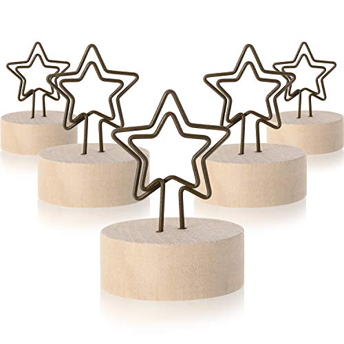 Star Card Holder - Yaomiao 15 Pack Wooden Base Place Card Holders Rustic Iron Wire Picture Picks Clip Holder Stand Party Decoration Card Holders Picture Memo Note Photo Clip