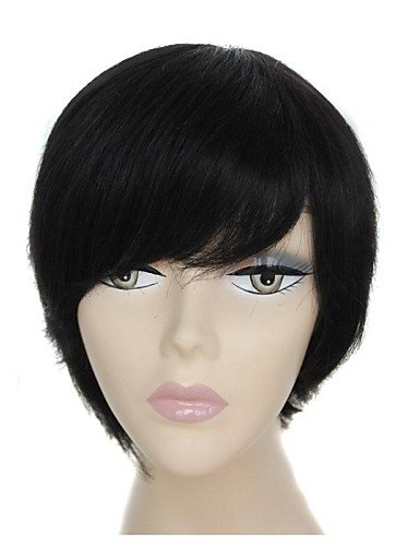 Pelucas Pelo europeo 100% real pelo corto negras kappenloses pelo liso peluca con lateral Pony