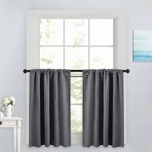 (PONY DANCE Gray Curtain Tier - Rod Pocket Blackout Panels Window Treatments Small Curtains Tailored Tiers/Valances for Kitchen, W 42 x L 36 inches, Grey, 2 Pieces)