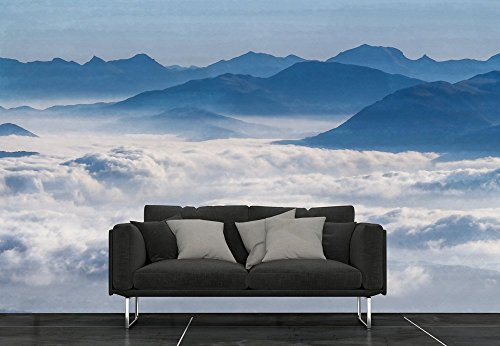 Large Wall Mural Landscape with Mountains and Clouds Vinyl Wallpaper Removable Wall Decor