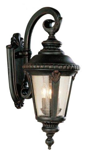 Three Light Rust Clear Seeded Glass Wall Lantern