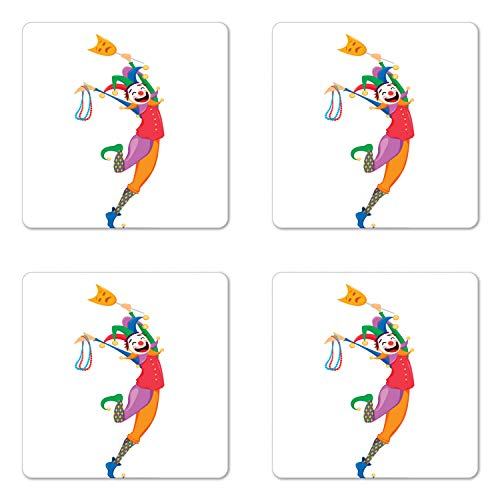 Ambesonne New Orleans Coaster Set of 4, Mardi Gras Themed Jester Holding Mask and Necklaces Colorful Cartoon Character, Square Hardboard Gloss Coasters for Drinks, Multicolor