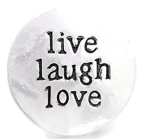 Laugh Love Stamped Silver Snap Button Charm ()