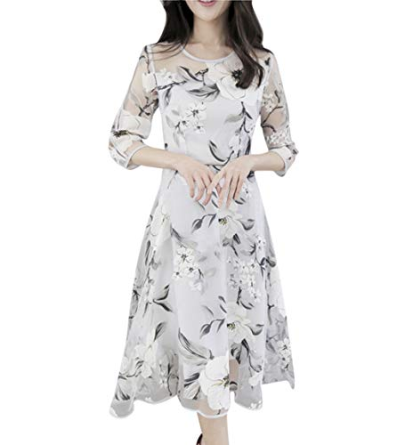 Women's Cocktail Dresses Summer Organza Floral Print Wedding Party Elegant Evening Dress (XL, White)