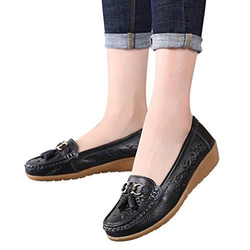 weiche Frauen Hollow leichte Einzelne im Erbsen Damen Schwarz Weicher Boden Steigung Freizeit Schuhe beiläufige Schuhe HKFV Unterseite Erbsenschuhe flache Freien Boots FwIqzO