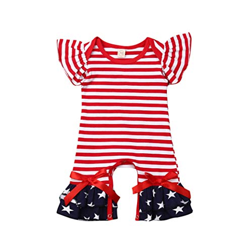 LiLiMeng 2019 New Toddler Kids Baby Girls Striped Star Ruffle Sleeve Romper Jumpsuit July of 4th Flare Pants Convenient Snap Red