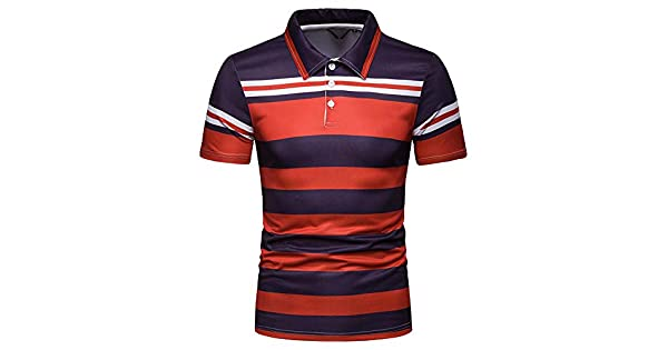 WHLTX Slim Fit T-Shirt Summer Mens Contrast Striped Lapel Short Sleeve Polo Shirt