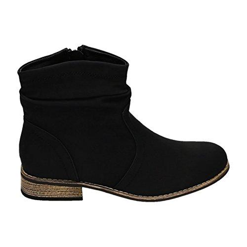 Jumex Damen Stiefeletten Cowboy Western Stiefel Boots Flache Schuhe HP86 Schwarz