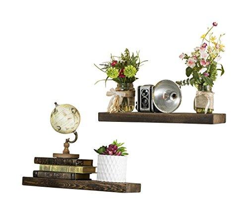 - Del Hutson Designs-Rustic Pine Floating Shelves (Dark Walnut, 20 Inch)
