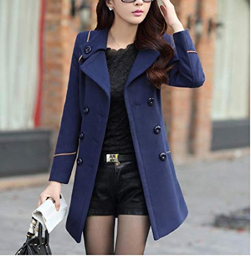 Women blue Pocket Navy Fitted Tops Big Woolen RkBaoye Down Turn Collar Slim Outwear pHqpwd7