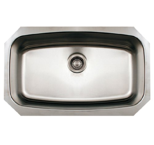 Whitehaus WHNCUS2917-BSS Noah's Collection 29-1/2-Inch Commercial Single Bowl Undermount Sink, Brushed Stainless Steel