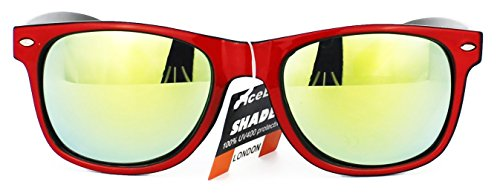 Retro dos Negro New Gafas Vintage UV400 Espejo Lentes sol de de Unisex tonos Classic Wayfarer xXqH4v