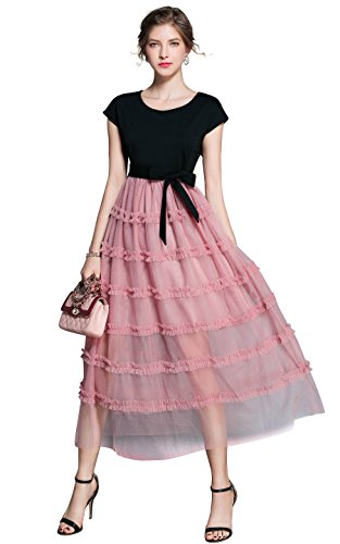 LAI MENG FIVE CATS Women's Cap Sleeve Top Patchwork Tiered Hem Skirt 2 in 1 Casual Party Maxi Dress