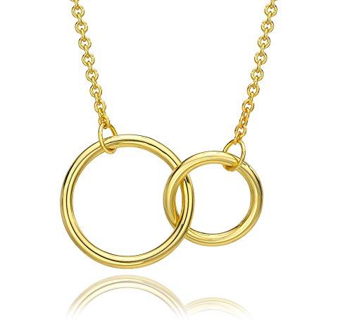 Gold Interlocking - ESCALIE Interlocking Circle Necklace, Double Circle Necklace, Circle Pendant Necklace, Gold Plated