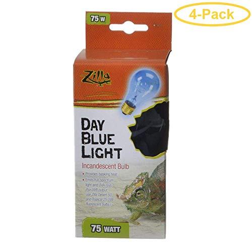 Zilla Incandescent Day Blue Light Bulb for Reptiles 75 Watt - Pack of 4