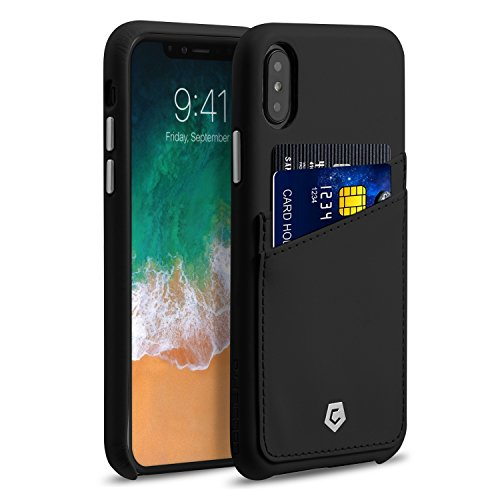 """Apple iPhone X Case, Cobble Pro Premium Handcrafted Leather Case Cover with ID Credit Card Slot Holder For Apple iPhone X 5.8"""" (2017), Black"""