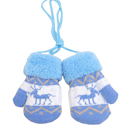 DRAGON SONIC Kids Winter Plush-lined Mittens with String Christmas Deer Thicken Gloves, 06 ()