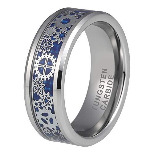 iTungsten 8mm Tungsten Rings for Men Women Mechanical Gear Wheel Blue Carbon Fiber Inlay Beveled Edges Comfort Fit