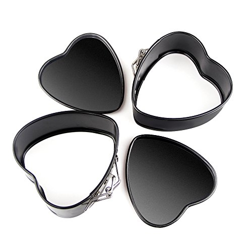 CKBAKIE Non-stick Springform Pan DIY 4 Inch Heart Shaped 2 Pcs Cake Pan AK-aixin01 (Pan Heart Springform)
