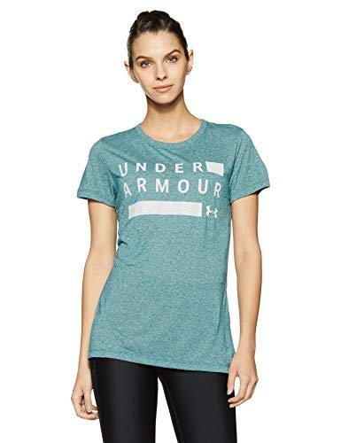Under Armour Womens Threadborne Graphic Twist Short Sleeve Shirt, Tourmaline Teal Ligh (716)/Metallic Silver, Large
