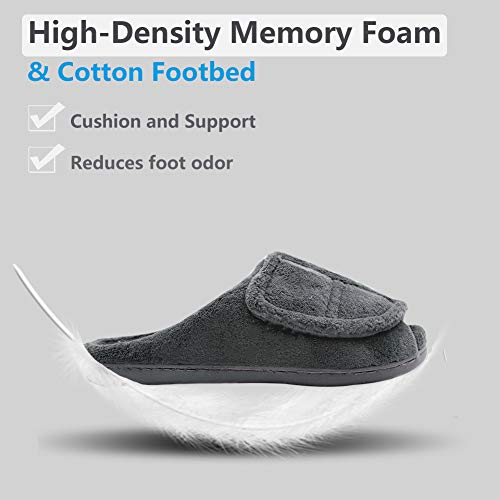 da0f0e0dd024 Women Coral Fleece House Slippers Adjustable Open Toe Bedroom Slip-on for Swollen  Feet