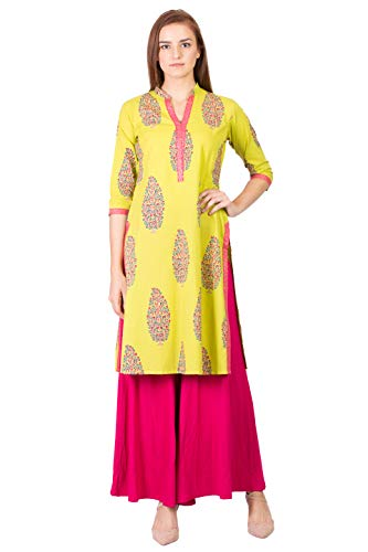 SABHYATA Women's Material:100% Pure Cotton Neck Type:Chinese Neck XX-Large Green