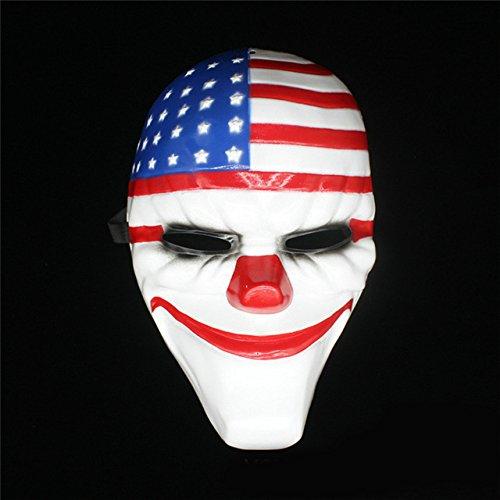 ハロウィンホラーマスク ペイデイ2マスク トップスゲームシリーズ プラスチック オールドヘッド ピエロ フラッグ レッドヘッド 仮面舞踏会用品 KO366127 オフホワイト Flag