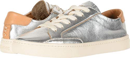 Soludos Women's Ibiza Leather Sneakers, Silver, 8.5 M US