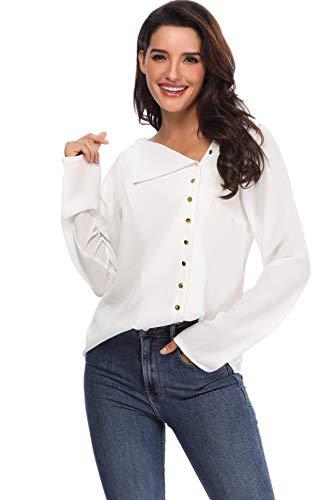 Aranmei Chiusura Camicetta Maniche Con s Camicia Lunghe Scollo Donna xl Bianco V Chiffon Blusa Asimmetrico Bottoni A Elegante rrxAw85qS