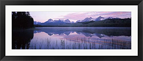 Little Redfish Lake, Sawtooth National Recreation Area, Custer County, Idaho by Panoramic Images Framed Art Print Wall Picture, Black Flat Frame, 51 x 22 inches (Redfish Framed)