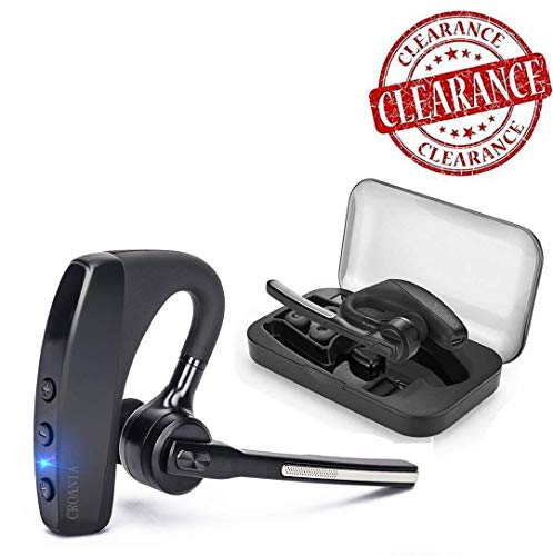 Bluetooth Headset, Wireless Bluetooth Earpiece Headphones Earbuds Ear Hooks Earphones with Noise Cancelling Mic and Carrying Case for Business/Office/Driving/Truck  Support iPhone/ Android Cellphones (Stereo Nokia Headset Bluetooth)